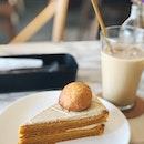 Pumpkin Chai Cake With Chai Frosting & Pumpkin Cream Puff ($7)