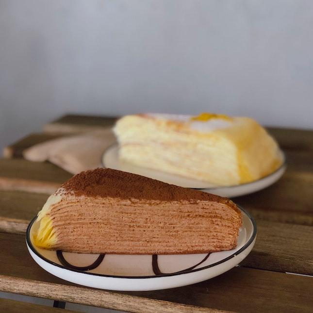 Dark Chocolate Crepe Cake (U.P. $7), Lemon Curd Crepe Cake (U.P. $6.50); Both On Burpplebeyond