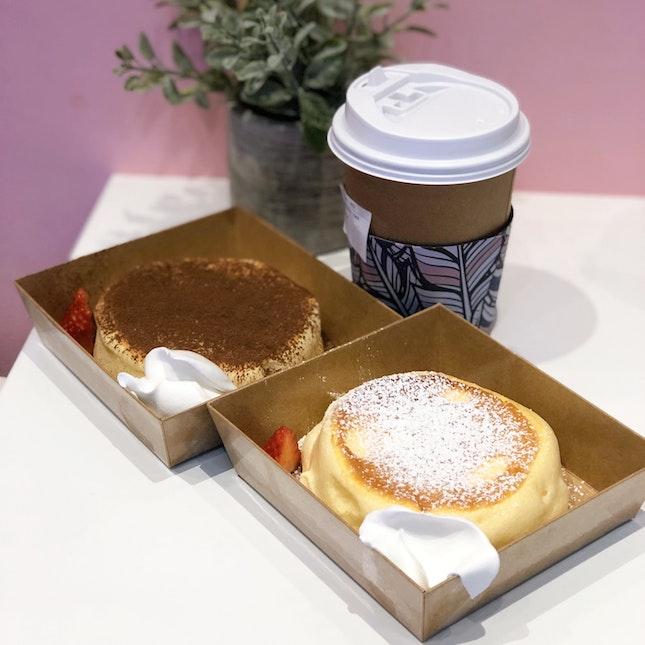 Soufflé Pancake (Original - $3.90, Tiramisu -$4,20, $3 With Any Order Of Drinks), Milk Tea ($2.90)