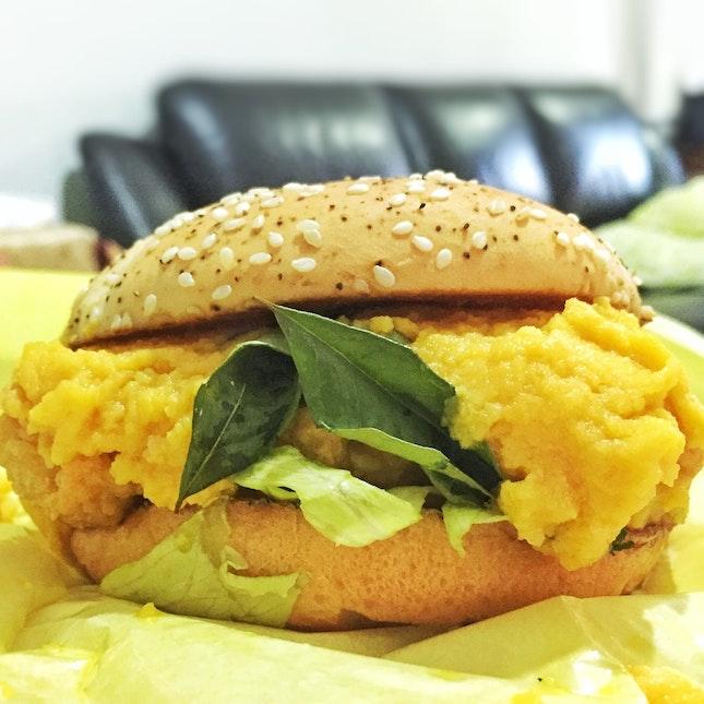 Salted Egg Chicken Burger