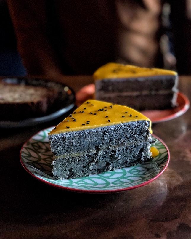 Salted Egg Yolk Black Sesame Cake ($9 per slice)