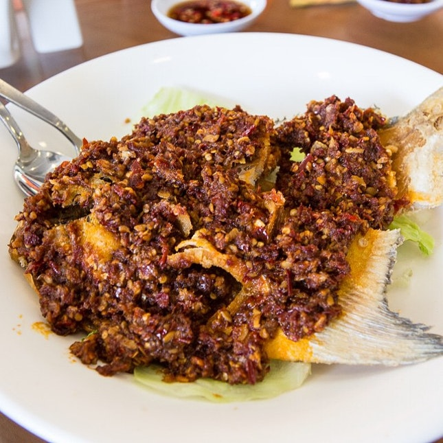 Sambal Pomfret #igsg #igers #igfood #yum #yummy #instafood #instadaily #instafollow #power #perfect #food #foodie #foodsg #foodpic #foodgasm #foodporn #foodstagram #awesome #sgig #sgfoodie #singapore #singaporefood #foodblogging #foodblogger #sgfood #sgfoodie #instalater #latergram #canon #6d #burpple