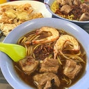 Prawn Noodles ($5.80), Pork Ribs Noodles ($5.80) & Assorted Five Spices ($4.40) .