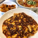 Mapo Don ($10) Sweet & Sour Soup Noodles ($14) and Szechuan Popcorn Chicken ($5)