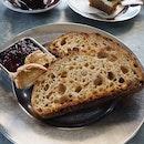 Wholemeal Sourdough w jam & peanut butter [AU$5]