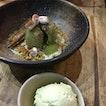 Pistachio Melt & Pandan Ice Cream - pandan crème anglaise, pistachio, cinnamon [$12]