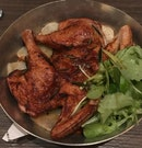 Butter Roasted Golden Chicken with Rosemary Jus [$58] serves two