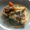 Grilled sea bass, braised endive, sand carrots, miso mayo & chia seed