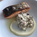 Norwegian Salmon with Cauliflower couscous, Pomegranate, Brown Butter