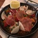Paella, Clams, Prawns, Squid, Chorizo, Jamin Iberico, Lemon [$28]