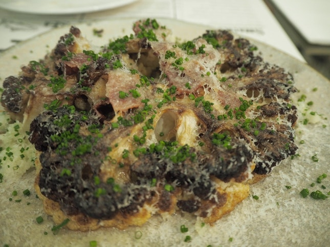 Roasted Cauliflower| Cauliflower cous-cous, Serrano Ham, Manchego [$16]