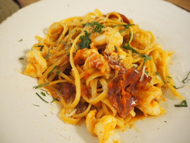 Prawn & Chorizo | Linguine, Spicy Chorizo, Tiger Prawns, Tomato Coulis [$22]