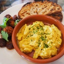 DIY Brunch - Sourdough Toast [$6] + Curried Scrambled Eggs [$8] + Pan Seared Smoked Chorizo [$8]