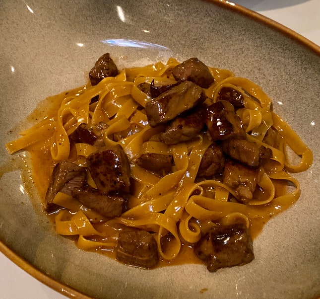 Homemade tagliatelle with wagyu beef and foie gras ragout [$48]
