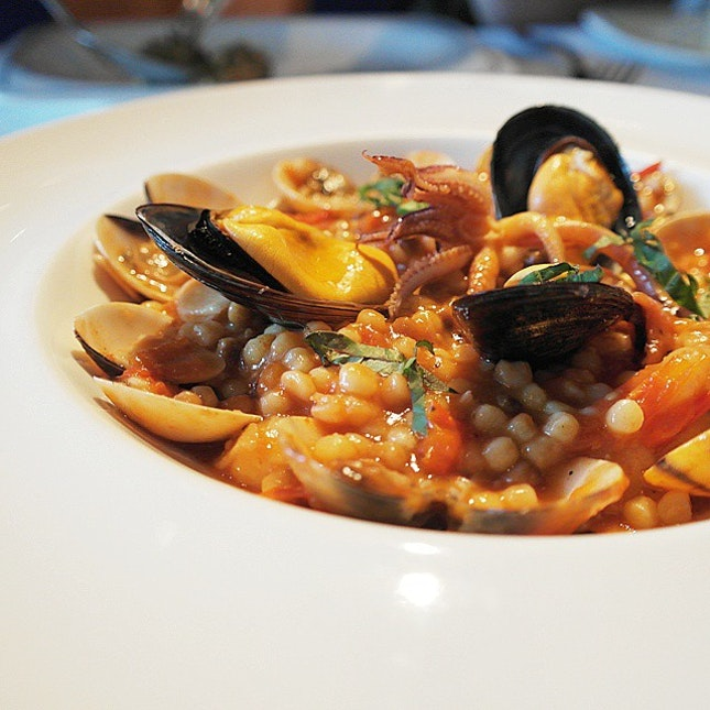 Sardinian Fregola with assorted pasta.