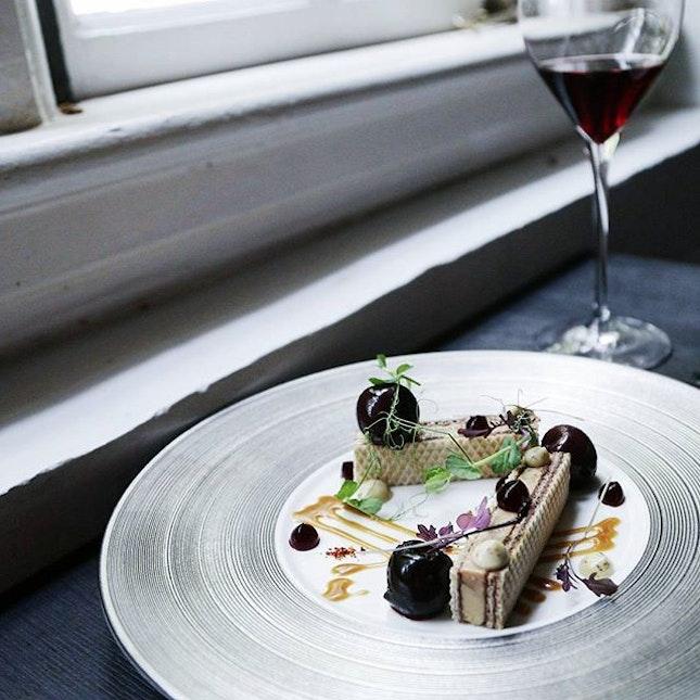 Incredible foie gras terrine between hazlenut wafers as appetizer at OCF.