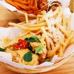 Salted Egg with Truffle Fries and Soy & Garlic with Sweet Potato Fries