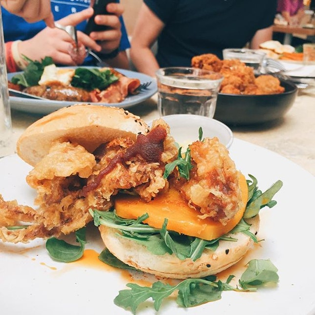 Soft shell crab burger ($22.50) Is one of the special dish curious palette may offer 👍 it came with pretty generous amount of greens with the wasabi sauce and crispy crab.