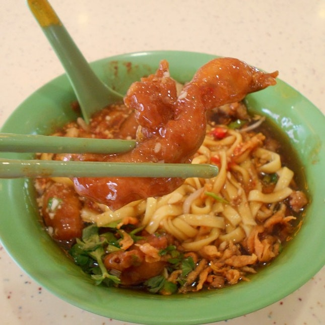 This is the fried shark fish in the lor mee.