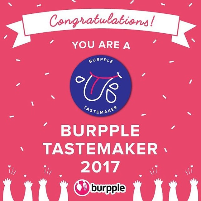 We are honoured to be awarded a Burpple Tastermaker 2017 badge.