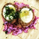 Scotch Egg Breaded Minced Pork with Soft Boiled Egg served with Purple Cabbage Colesaw  A Scotch Egg is a delicacy that was made out of necessity in the Middle Ages by Scottish farmers and sheperds as a form of 'packed' lunch from home.