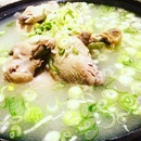 Dak Hanmari  Whole young chicken stuffed with leek, sticky rice and garlic.