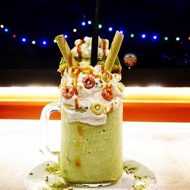 Avengershake Hulk @thepipedistrict  Another place to visit if you are a fan of Freakshakes Boasting Nick Fury, Black Widow, Captain America and the Hulk in the armoury, I went for the Hulk which is a rich and robust green tea dinosaur with an avalanche of house made green tea cheesecake, green tea roll stick cookies, cereal, marshmallows and cream.