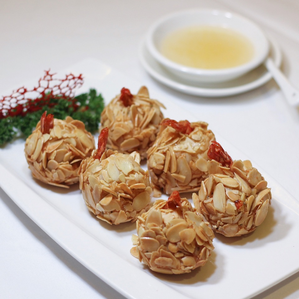 Almond And Salted Egg Prawns ($21)