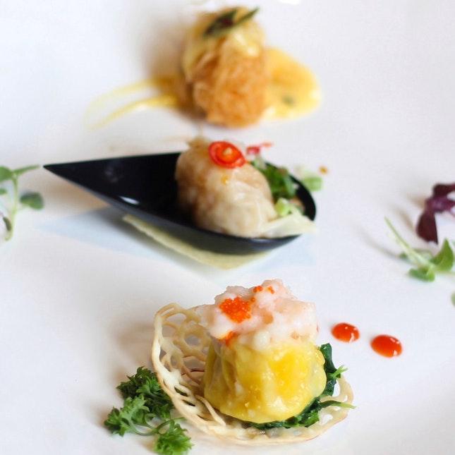 龙须虾卷,京式饺子,鱼子蒸烧卖