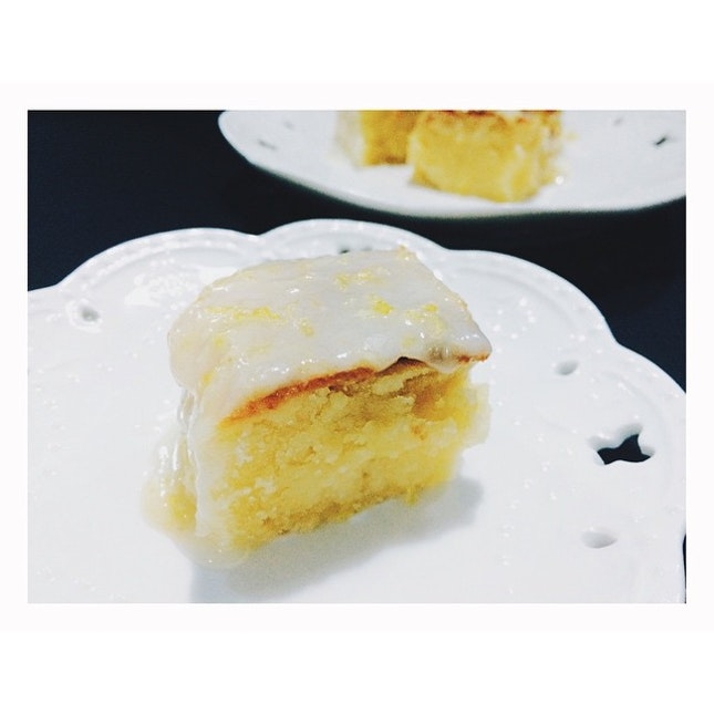 Baked lemon lemonies (lemon version of a brownie) with lemon glaze.