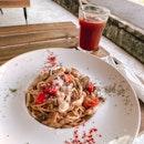 Shrooms Aglio Olio & Peculiar Lavender Coffee