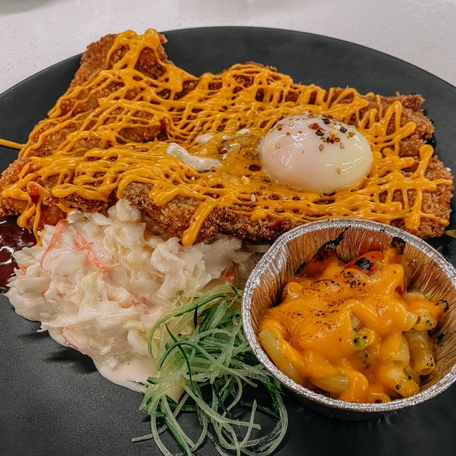 XXL Fried Chicken Cutlet w/ Nacho Cheese & Sous Vide Egg