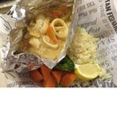 Baked Seafood in Garlic Herb With Garlic Herb Rice And Boiled Vegetables