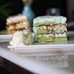 [Halal] Classic Ondeh Ondeh cake $8.50+ *Highly Recommended* 🍰  Thick pandan layers of sponge cake with coconut butter cream and generous amounts of ondeh ondeh in between the layers!
