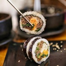 Bulgogi Gimbap ⭐️ Korean version of a sushi that you get on the go, you can pack them as lunches and they're really easy to eat as they're usually wrapped up!