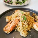 Tiger Prawns And Scallop Aglio Olio ($19)
