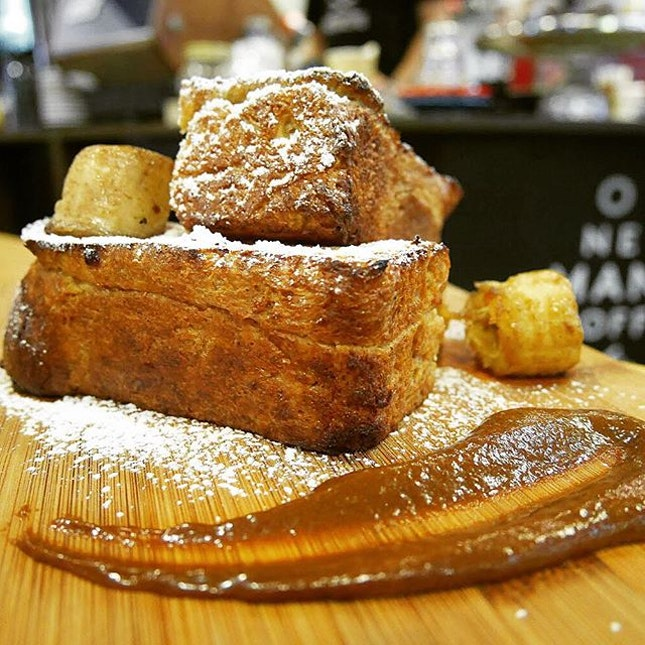 Brioche French toast ($10) - fluffy and velvety brioche served with caramelised bananas.