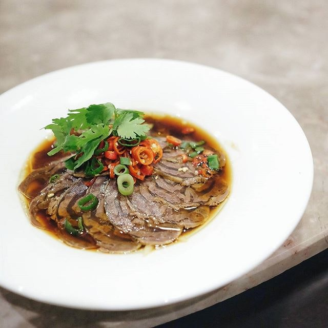 Beef Shank Slices in Sze Chuan Sauce ($16) - thinly sliced pieces of beef shank doused in a pool of spicy sauce all fired up with szechuan peppercorns and good handful of spring onions to cut through its blatant pungency.
