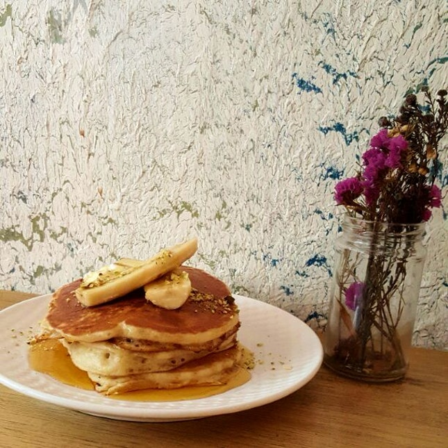 Pancake Stack With Maple Syrup, Bananas & Ricotta Cheese