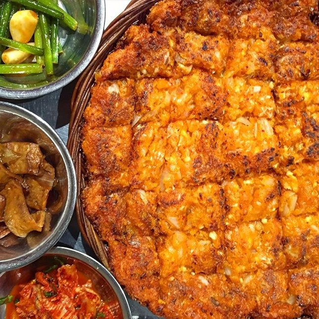 Super oily and sinful Kimchi Pancake, part of the #homies' lunch.