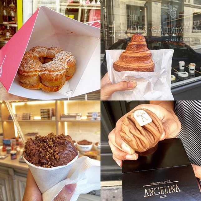Clockwise from top left: Paris Brest (Patisserie des Reves), Croissant (Des Gateaux et du Pain), Mont Blanc (Angelina), Cornet of Chocolate Mousse (Chapon) .