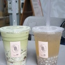 Lemongrass Kombucha with Chestnut Pearls & Genmaicha Milk with Earl Grey Jelly [$6.40 /2]
