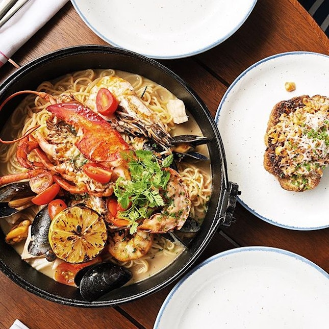 The Fisherman's Feast features handrolled linguine, lobster, prawns, mussels, fish and the seasonal catch.