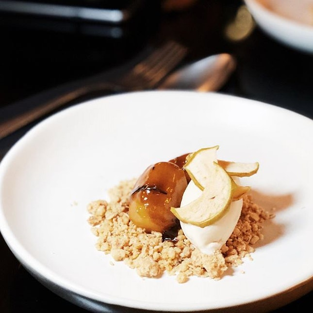 Apple and ice cream - crunchy apples caramelised with Calvados (traditionally a French apple brandy), with clove ice cream and brown sugar oat crumble.