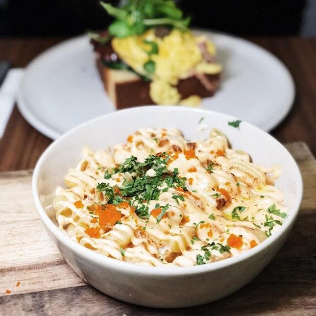 Mentaiko Mac & Cheese - macaroni, prawn, crab meat, Parmesan, cheddar and mentaiko.