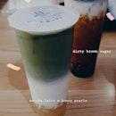 matcha latte [L] + honey pearls; dirty brown sugar + honey pearls