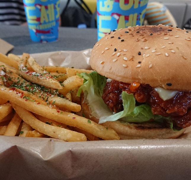 Chicken Burger & Seaweed Fries
