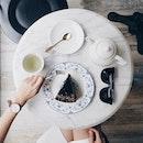 """A Sunday well spent Truffle Chocolate Cake ($9.90) and a pot of Gryphon Hanami Tea ($7)."
