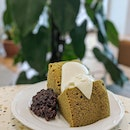 Matcha Chiffon Cake ($12) with homemade Azuki bean paste and fresh cream.