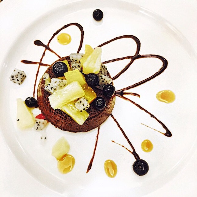 Molten Lava Cake with mixed berries ($9.90++) from {PastAmore Italian Restaurant}.